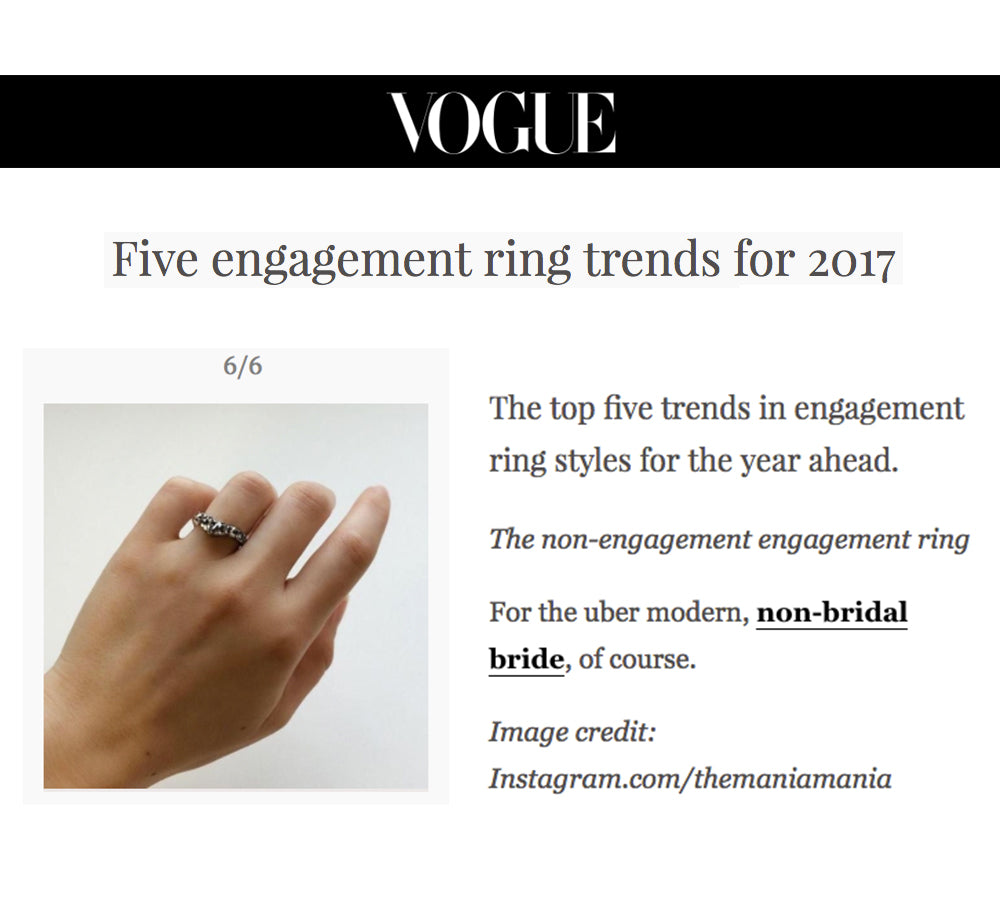 IMAGE ALT TEXT - 2017 engagement ring trends by vogue featuring maniamania sacred band