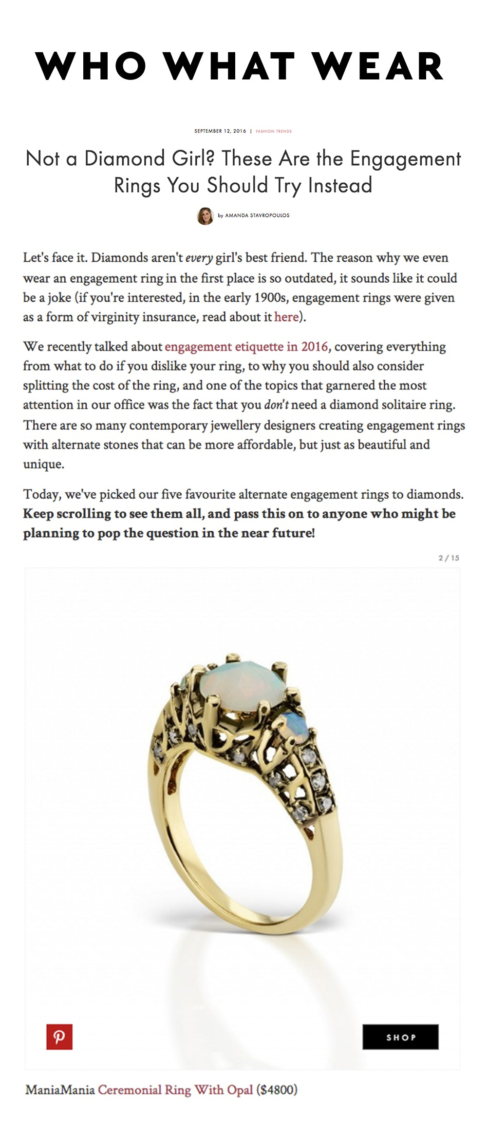 IMAGE ALT TEXT - alternative to diamond engagement rings by contemporary jewellery designers maniamania