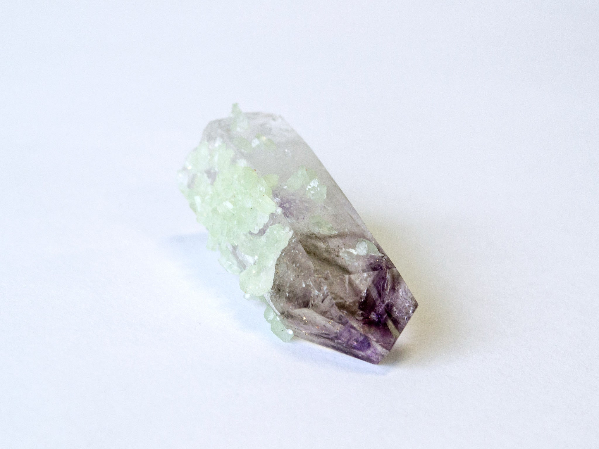 Prehnite on Amethyst crystal