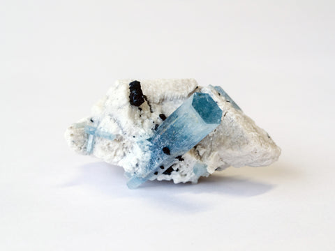 Aquamarine, Feldspar and Schorl Tourmaline crystal