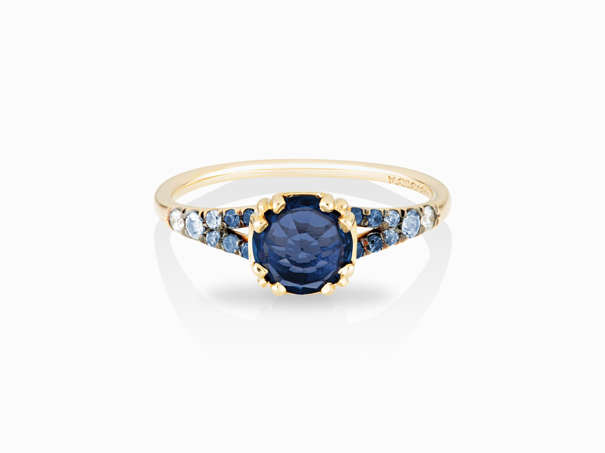sapphire ring halo solitaire gold blue by egan aurora in products engraved mdl rose small corey we