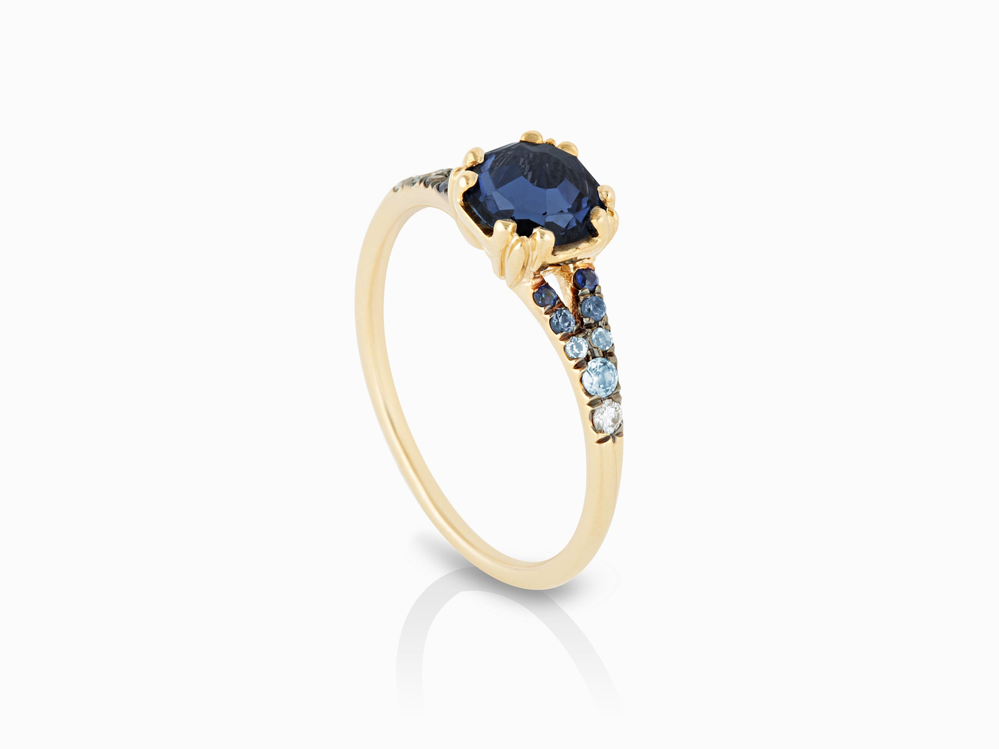 sapphire devotion yellowgold side maniamania solitaire ring yellow bluesapphire blue devotionsolitairering midnight products gold darker