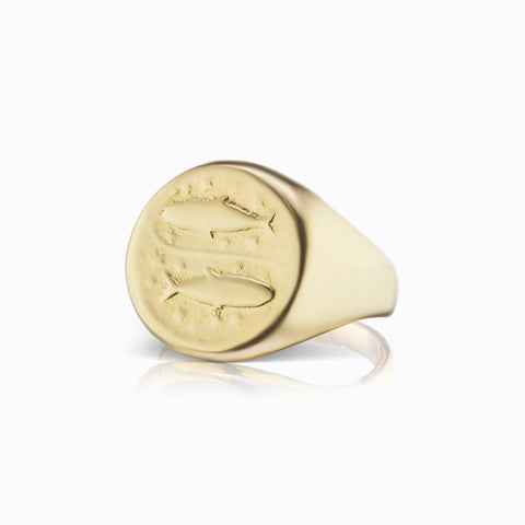 Zodiac Signet Ring - Pisces - In Stock Now
