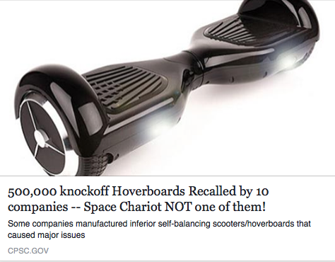 The Space Chariot Hoverboard is Rated the Safest Hoverboard