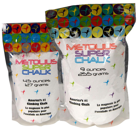 Metolius Super Chalk Comes In 4 Ounce and 9 Ounce Containers