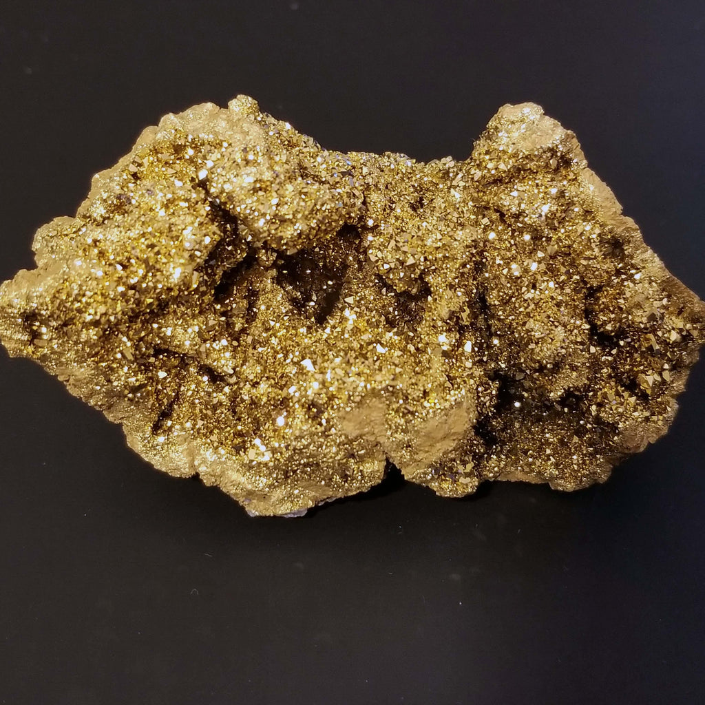 Gold Aura Quartz Druzy Crystal Geode - 158 Grams