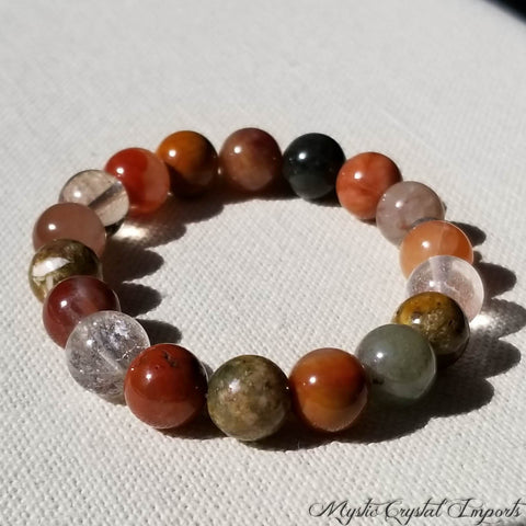 Multi-Colored Natural Rutilated Quartz Bracelet