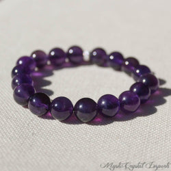 Amethyst Bracelet - Extra Fine Quality Natural Deep Purple Crystal Beads