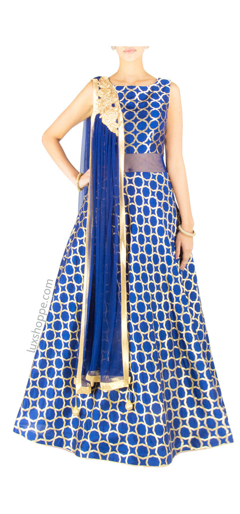 Midnight Blue \'Moroccan\' Brocade Gown – LuxShoppe.com
