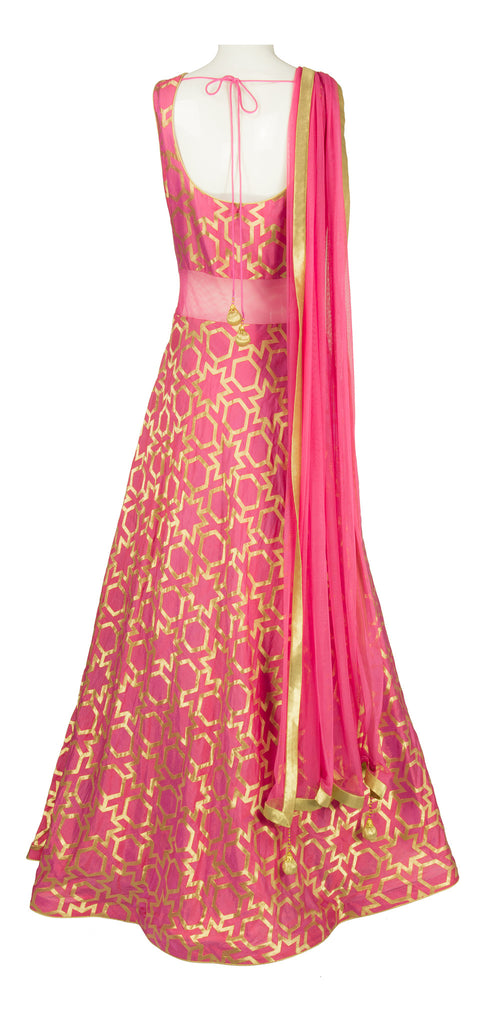 Salmon Pink \'Moroccan\' Brocade Gown – LuxShoppe.com