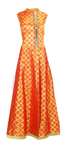 Monarch Orange Brocade Suit with Mirror Work