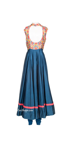 Prussian Blue Chanderi Anarkali
