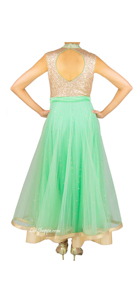 Sea Green Sequins Anarkali