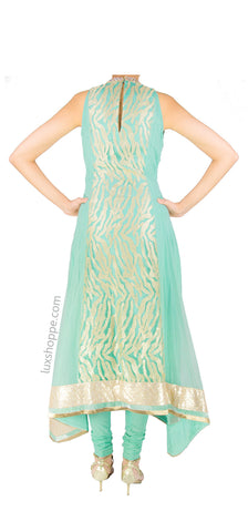 Teal Sequins Asymmetrical Anarkali