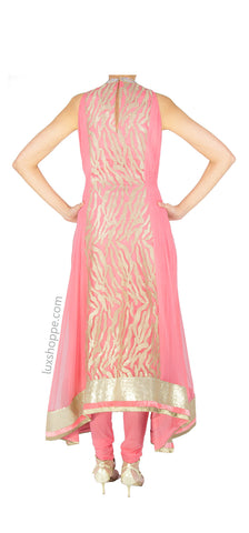 Rose Pink Asymmetrical Anarkali
