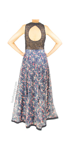 Black Lace Vintage Floral Gown