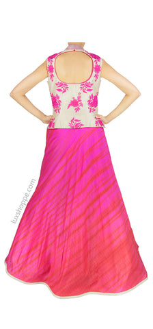 Fuschia Tye-Dye Gown with Jacket