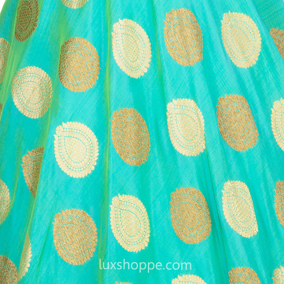 Turquoise Brocade Gown
