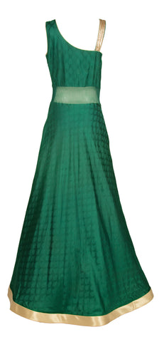Forest Green Brocade Gown with Zardozi work