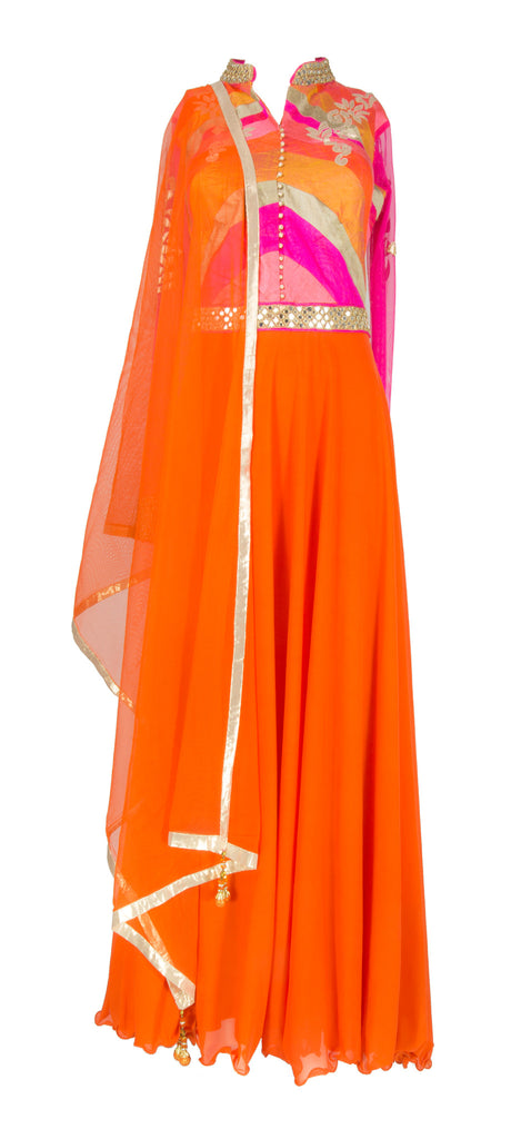 Burnt Orange and Pink Anarkali with Mirror Work
