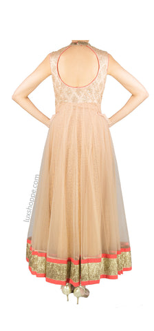 Peach and Coral Net Anarkali