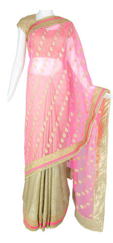 Neon Pink and Cream Saree