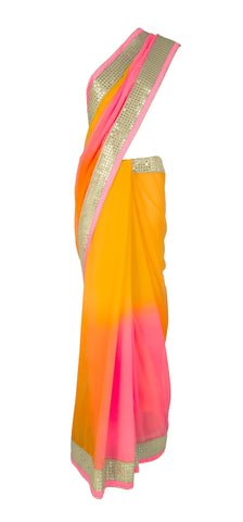 Pink and Yellow Ombre Saree