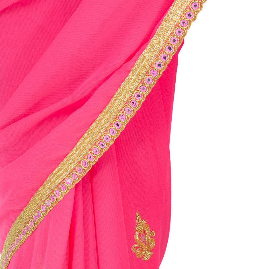 Rouge Pink Saree with Mirrorwork