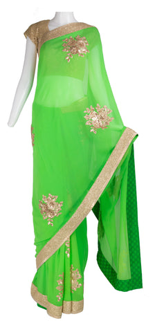 Spring Green Saree with Sequins Detail