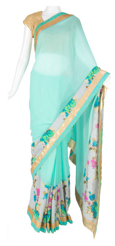 Floral Tiffany Blue Saree