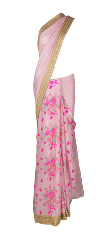 Rose Pink Floral Saree