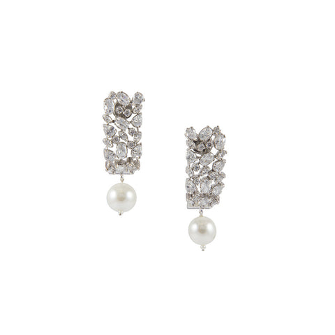 Silver Cluster Earrings with Pearl Drop
