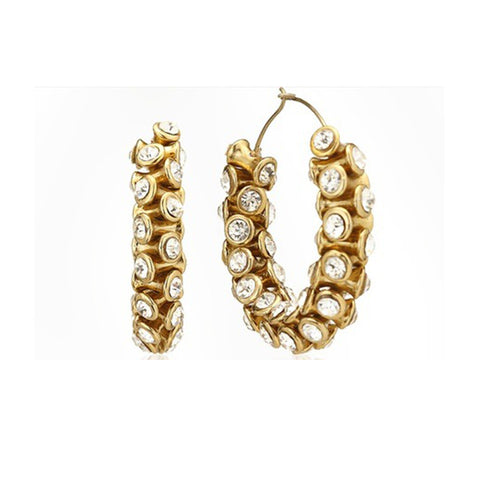 Antique Gold Crystal Hoops
