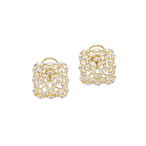 Square Golden Studs with White Crystals