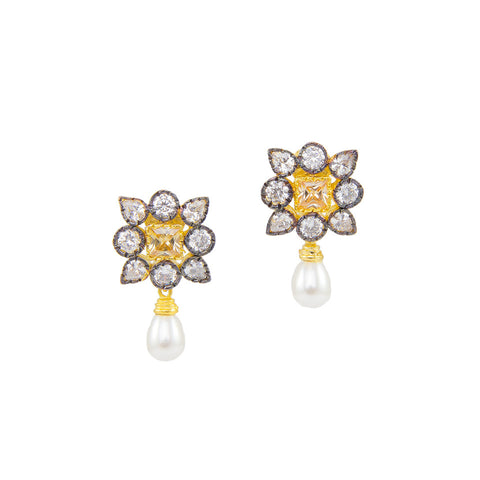 Square Floral Earrings with Champagne Stone
