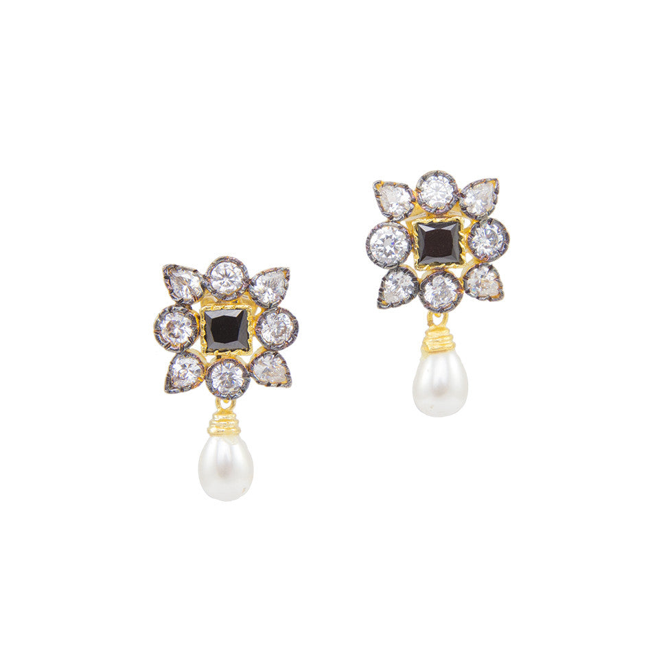 Square Floral Studs with Black Stone