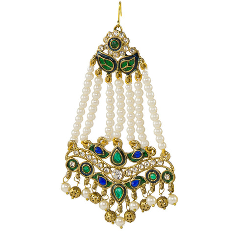 Pearl Jhoomar with Blue and Green Stones