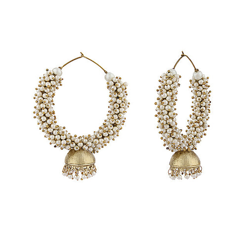 Golden Pearl Hoops with Jhumka