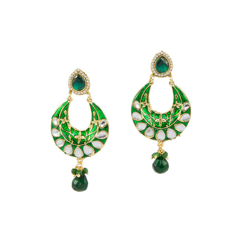 Emerald Jhumkas with Enameling