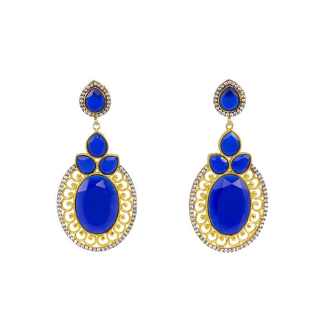 Golden Round Earrings with Blue Stones