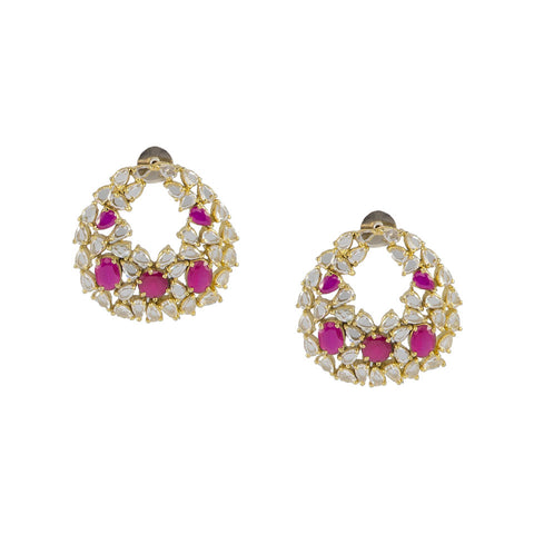 Round Earrings with Pink Stones