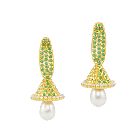 Green Jhumkas with Pearl Drop