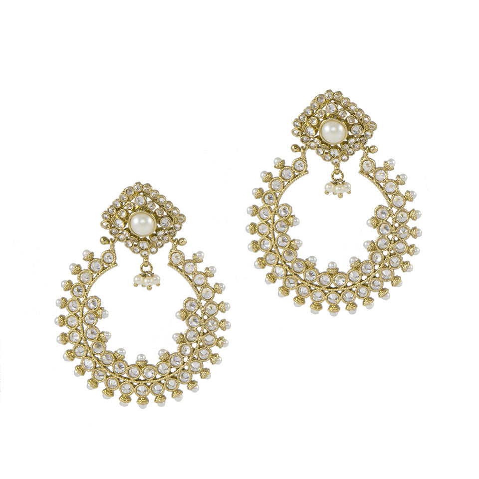 Golden Pearl Crescent Earrings