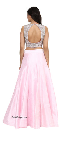 Blush Sequins Crop Top Lehenga