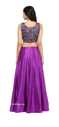 Violet Sequins Crop Top Lehenga