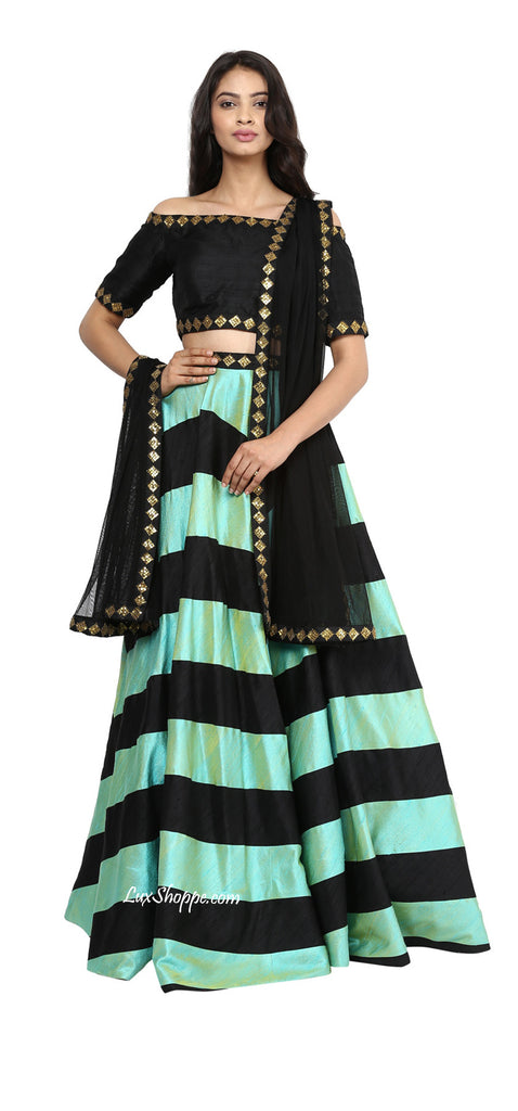 Mint & Black Sequins Lehenga