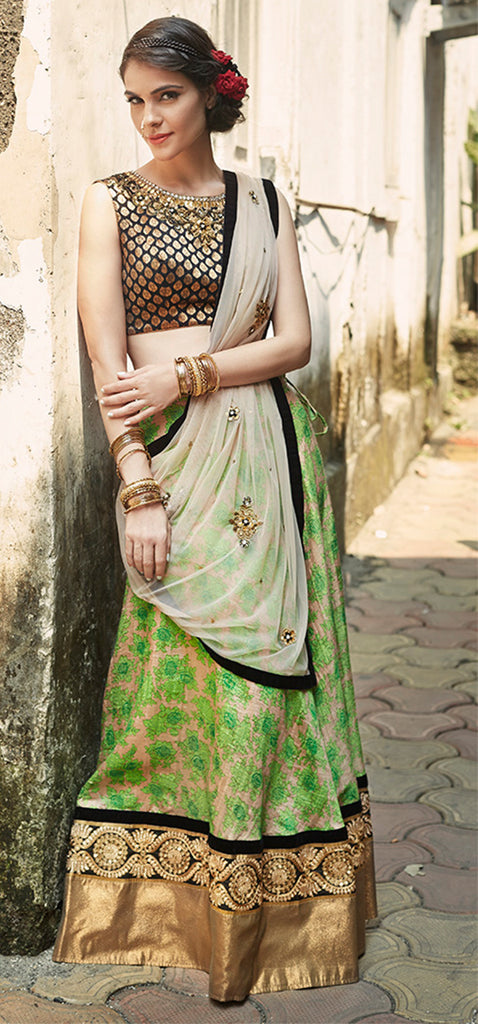 Black Brocade & Green Lehenga
