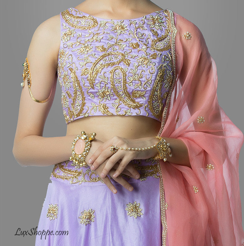Lavender & Blush Crop Top Lehenga
