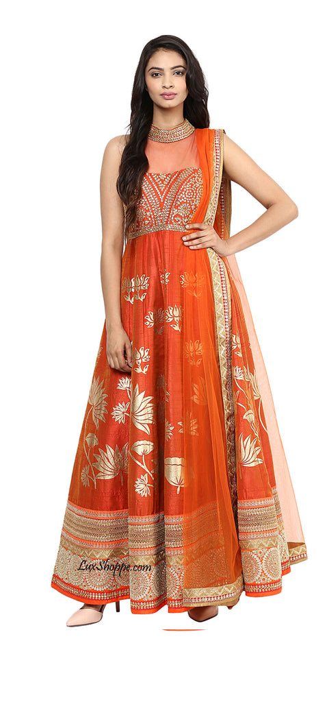 Red & Gold Anarkali with Kundan & Applique work