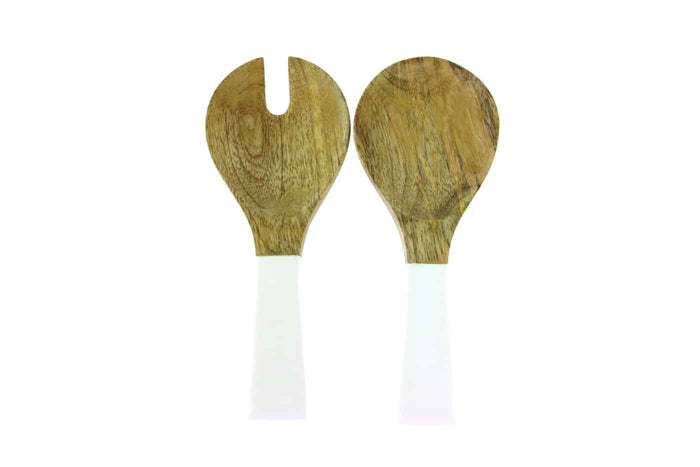 MANGO WOOD AND WHITE ENAMEL SERVING SET